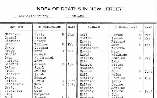 Sample of New Jersey Death Index from 1925